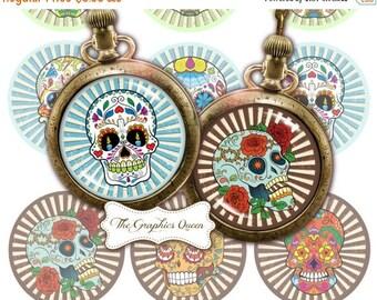 80 % off Graphics SaLe Dia de los Muertos Sugar Skull Halloween Digital Collage Sheets Round Images for Pocket Mirror, Cupcake Toppers, Bott