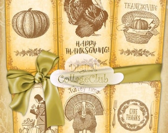 80 % off Graphics SaLe Thanksgiving Digital Paper Cipart Large Hang Favor Tags Labels Bookmarks Digital Collage Sheet Thanksgiving Decor Dec