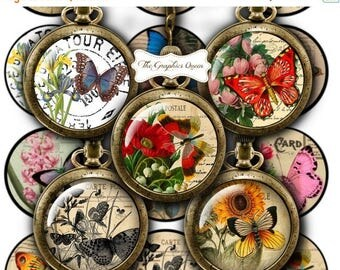 80 % off Graphics SaLe 12 mm, 20mm, 30 mm, 1 inch, 2 inches Vintage Butterfly Bottle Cap Images Digital Collage Sheets Round Circles Downloa