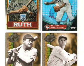 Topps/Upper Deck 4 Card Lot Ruth,Robinson,DiMaggio EX-NM