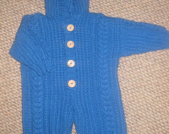 Aran style all in one suit ,baby 3/6 months , cables ,hoody , hand knitted