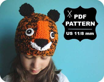 English-French Two Needle KNITTING PATTERN / Digital Download / #50 / Knitted Fox Hat / 6-16M to 5 years-Adult / US11 / 8mm