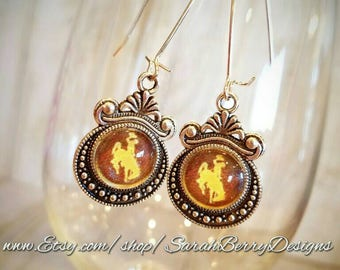 Wyoming Cowboys Ladies Earrings - Officially Licensed University of Wyoming Product - Wyoming Bucking Horse -UW - Pokes -Brown and Gold- 307