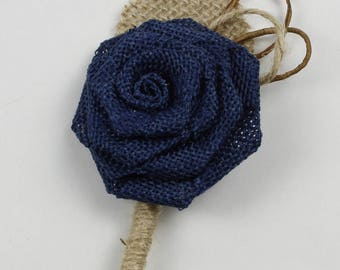 Navy Blue Rustic Boutonniere Groom Boutonniere Groomsman Boutonniere Burlap Boutonniere Mens Wedding Boutonniere  Navy Blue Boutonniere