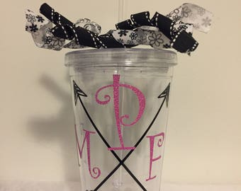 Monogramed/Personalized Double Wall 16oz Tumbler - Arrows