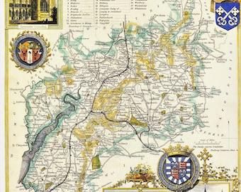 Gloucestershire historical county map 1837 reproduction UK South West England decorative vintage office pub decor Thomas Moule print