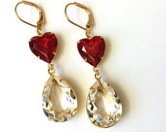 Red Heart Valentine Earrings Valentine Drop Earrings Double Drop Earrings Red and Gold Earrings Valentine Earrings Clear Crystal Earrings