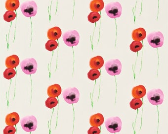 Sanderson Poppies Red & Emerald Curtains Made to Measure