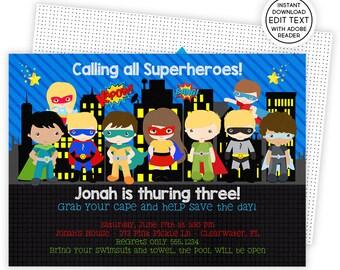 Superhero Invitation, Superhero Party, Superhero Pool Party, Superhero Birthday Invitation, Super Hero Invites, Superhero Invitations | 273