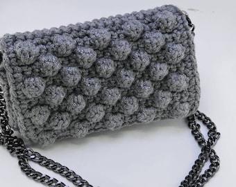 Clutch - crochet in grey