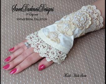 Steampunk BRIDAL Cuff WRIST CORSET Ivory Jacquard Vintage Lace Pearl Victorian Bridal
