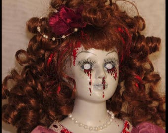 Victorian Horror Doll Southern Belle Doll Gothic Horror Doll Zombie Bleeding Doll Halloween Horror Doll hand painted by SweetDarknessDesigns