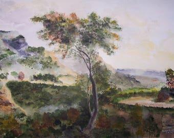 "Original watercolor painting, landscape painting,scenic painting,""DISTANT PARADISE"",22""w x 16""h"