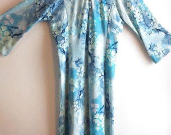 GEMINI SALE Vintage Hal Ferman Dreamy Cottonwood Bell Sleeve Maxi Dress / Vintage Union Made Dress / Women's Size M / Mod Glam