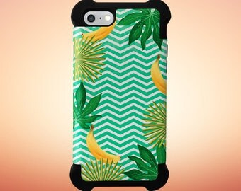 Go Bananas x Tropical Chevron Phone Case, iPhone 7, iPhone 7 Plus, Rubber iPhone Case, Galaxy s8, Google Pixel, Summer Party