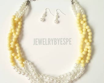 Pastel Yellow Necklace, Pearl Necklace,Chunky Bib, Layered Necklace, Statement Necklace,Yellow Wedding Ivory Pearl Multi Strand Necklace