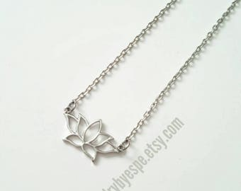 Lotus Flower Necklace Silver Dainty Layering Lotus Necklace Minimalist Choker Bff Necklace Bridesmaid yoga zen boho Christmas gifts