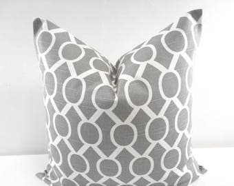 SALE GREY  PILLOW. Gray  and white Pillow cover. Sham Pillow case. Select your size.