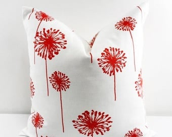 SALE Coral Pillow Cover. Coral Throw pillow cover. Euro Case. Coral Dandelion sham cover. Dandelion Coral &  white. Cushion cover. Select si