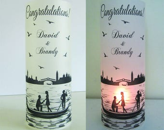 12 Personalized Venice Italy Gondola Rialto Bridge Engagement Wedding Centerpiece Table Decoration Luminaries
