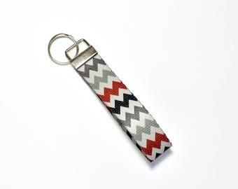 Silver Chevron Key fob, key ring