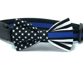 Thin Blue Line Dog Collar Bow tie set, dog collar, police, police dog, wedding dog collar