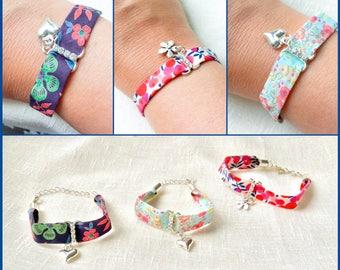 Floral bracelets, charm bracelets, birthday gift, handmade, friendship bracelets, heart charm bracelets, summer jewellery, boho bracelet,