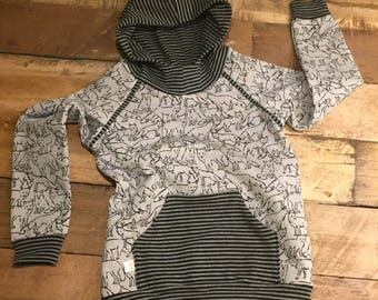 Hoodie, grey with black drawn foxes, eco, jogging cotton, mt110, 3/4 jr