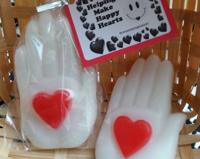 Hands with Hearts Party Favors, Helping hands make happy hearts inspirational party favors, wedding soap favors