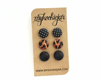 Black Leopard Print Earring Studs, Metallic Black Button Earrings, Leopard Earrings, Polka Dot Studs, Lightweight Earrings, Girls Earrings
