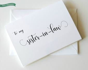 To my Sister in Law, Wedding Card to Sister in Law, Sister in law Card, Choose your own ink colors _ Simplicity Collection_HON26
