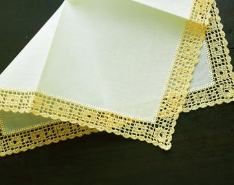Yellow cotton handkerchief with handmade lace
