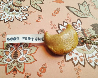Polymer Clay Fortune Cookie Necklace