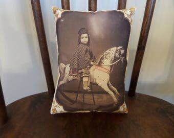 """Doll Pillow Victorian Girl on Rocking Horse 6"""" x 4"""""""