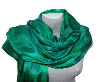 Green Silk Scarf Emerald Hand Painted Silk Scarves Hand dyed silk scarf for Ladies Mother Birthday gift Women Scarf Party Summer Outdoors
