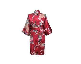 Burgundy Robe, Burgundy floral satin robe