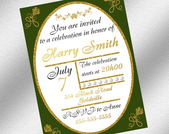 Green and Gold Invitation, Instant Download, Printable Invitation, Elegant Invitation, Green and Gold Party Decoration