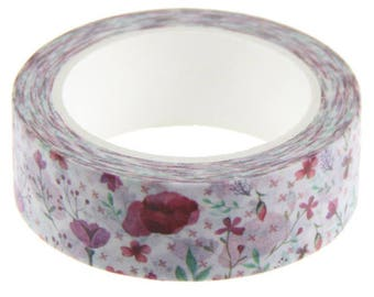 Pretty roll of masking tape with flowers - Washi tape flower