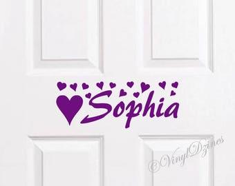 Kids Door Sign, Kids Door Decal, Name Door Decal, Name Sticker, Hearts Kids Name Decal, Bedroom Door Sticker WD-1501