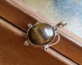 Holiday SALE 85 % OFF Tiger Eye Pendant Gemstones  . 925 Sterling Silver