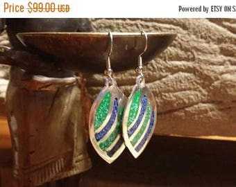 Holiday SALE 85 % OFF Abalone Boho Hippie Chic Bohemian Gypsy Belly Dancer Earrings