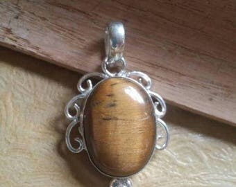 Holiday SALE 85 % OFF Tiger Eye Pendant Gemstones  . 925 Sterling Silver