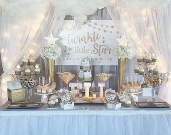 SALE Twinkle Twinkle Little Star Backdrop, Gold Pink, Aqua, Gender Reveal  Sign,
