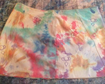 Women's Up-cycled Size 8 Tie Dye Skirt with Fruits and Veggies,Express stretch