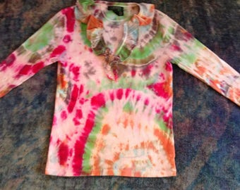 Women's Medium Tie Dye Up-Cycled T-Shirt, ribbed fabric,3/4 sleeve, ruffle at neck