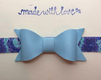 Leather Bow Headband, baby blue, paisley, bow headband, baby bow