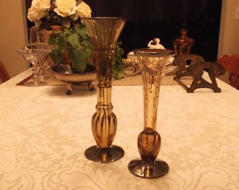 Lot of 2 Vintage Mid-Century Italian Amber Glass Vases Silver Overlay Floral Patterns