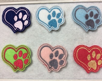 Heart Paw Print Feltie 6 colors  Always Precut