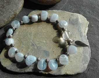 blue chalcedony bracelet with sterling silver beads and angelwing