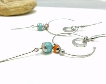 Boucles d'oreille bleu orange, pierre et acier inoxydable